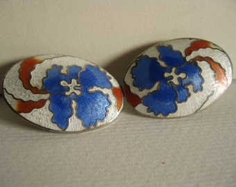 Vintage oval enamel omega style earrings