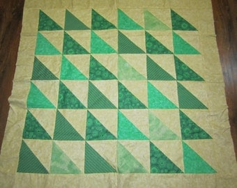 Cream and Greens Triangle Baby Quilt Top- 41x42 inches