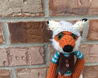 Mini Amigurumi Crochet Fox, Fantastic Hipster Fox, stuffed fox, fox toy, crochet stuffed animal