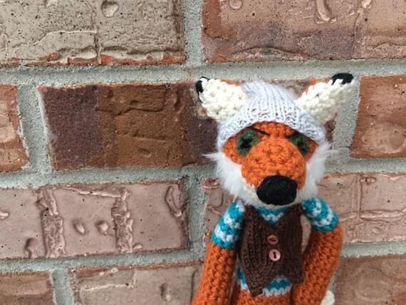 Crochet Fox, Fantastic Hipster Fox, stuffed fox, fox toy, crochet ...