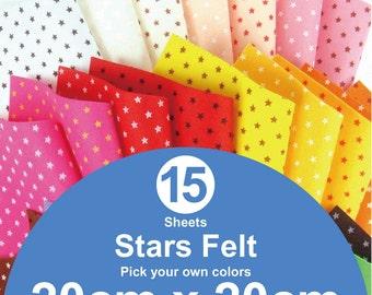 15 Printed Stars Felt Sheets - 20cm x 20cm per sheet - Pick your own colors (S20x20)
