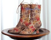 Victorian shoes in Flower print canvas limited edition Victorian Boots Weeding boots Lace up  Boots in Faux Leather flower fabric