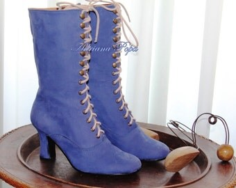 Victorian Boots in Royal Blue suede leather Victorian Shoes Victorian Weeding Ankle boots Custom shoes