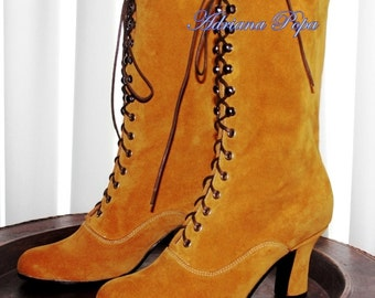BIG SALE Victorian Boots ocher suede leather  Ankle boots in Ocher  leather / Mustard  colour Leather Custom boots Custom shoes
