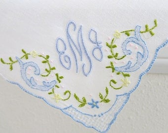 Corner Design with Color Embroidery Cotton Handkerchief with 3-Initial Monogram Style