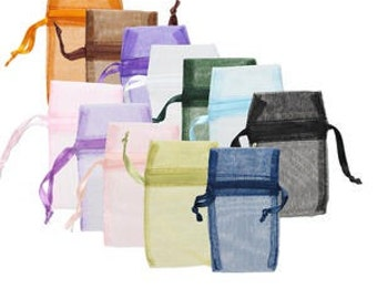 12pcs Organza Gift Pouch Jewelry Bag 4-1/2 x 2-3/4in Assorted Colors