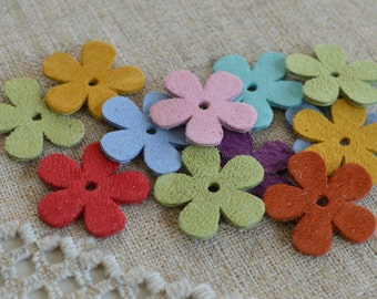 12 Suede Leather Flowers 25x25mm Multicolor Double Sided Focal Component
