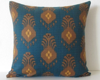 Nate Berkus El Convento Pacifica - vintage teal ikat decorative designer pillow cover