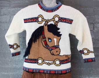 Vintage 80s Funky Horse Sweater by heartworks