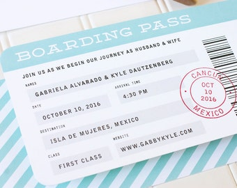 Boarding Pass Wedding Invitation - Destination Letterpress Wedding Invitations - Airplane Letterpress, Foil Stamp or Flat Printing - DEPOSIT