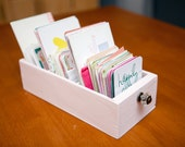 Small, tabletop craft organizer for scrapbooking embellishments, project life cards, and other craft supplies