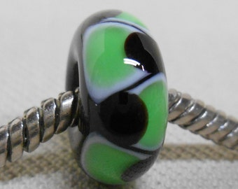 Glass Handmade Lampwork Bead Large Hole European Charm Bead Black with Green Design