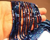 Hematite blue - 3mm faceted square - full strand - 142 beads - AA quality - PHG182