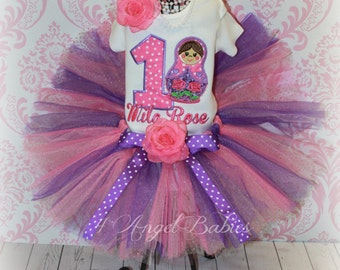 Girls Birthday Tutu Outfit German Nesting Doll Purple & Pink FREE Personalization 3 Piece Glitter Set Choose Size, Name, Colors