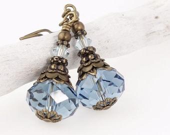 Vintage Style Antique Brass Earrings Made w/ Swarovski Crystal - Denim Blue Crystal Earrings - Beaded Dangle Earrings Blue Jewelry