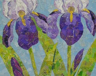 Purple Iris Collage - Torn Paper on 12 x 18 Wood Panel - 1 5/8 deep - Ready to Ship - Ready to Hang - Handpainted Papers - Original Art