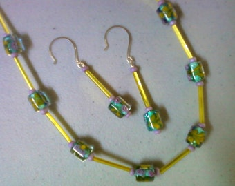 Teal, yellow and lavender necklace and earrings (0687)