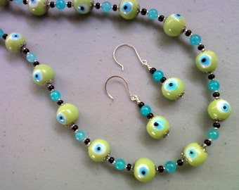 Lime Green and Aqua Blue Evil Eye Necklace and Earrings (0092)