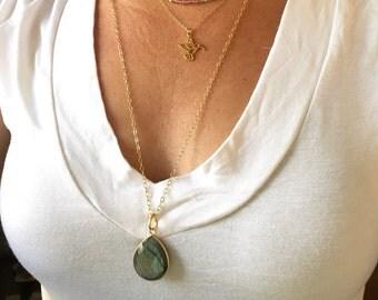 Tourmaline bar necklace /tourmaline necklace/ 14k gold filled bar necklace