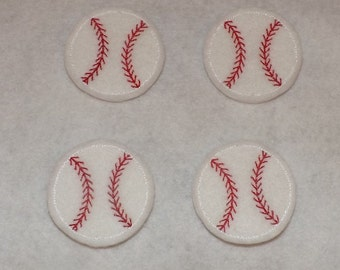 Ready to Ship Feltie Machine Embroidered Hand made (4) Felt Baseball CUT Embellishments / appliques