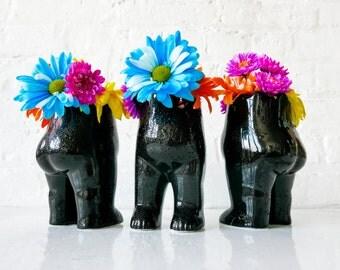"SET OF 3 Tushiez Vases for Spring - Size 5"" - Black Ceramic White Porcelain - Matte or Glossy - Cute Herb Planters - Spring Greens Vase Trio"
