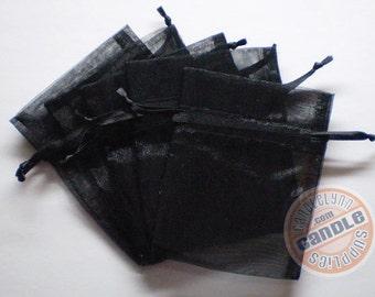 10 BLACK 5x8 Sheer Organza Bags