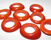 Orange Rounded Tagua Rings, Domed Rings, Donuts, Two, EcoBeadsTagua