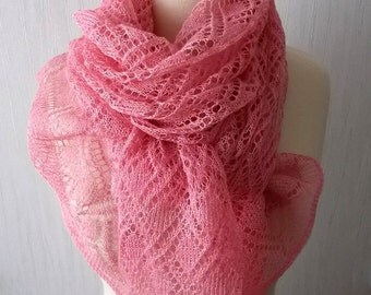 Knitted Linen Scarf Lace Shawl Natural Summer Wrap for Women in Pink