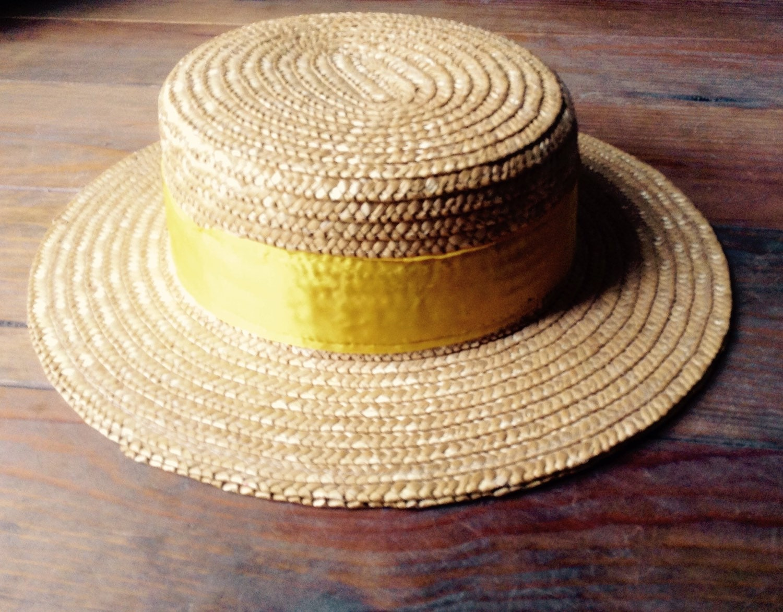 vtg straw boater hat canotier mens womens