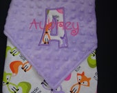 GIRLS PERSONALIZED BABY Blanket - Baby Shower Gift - New Baby Gift -Infant Nursery -22 X 24 Size - Purple, Pink and White