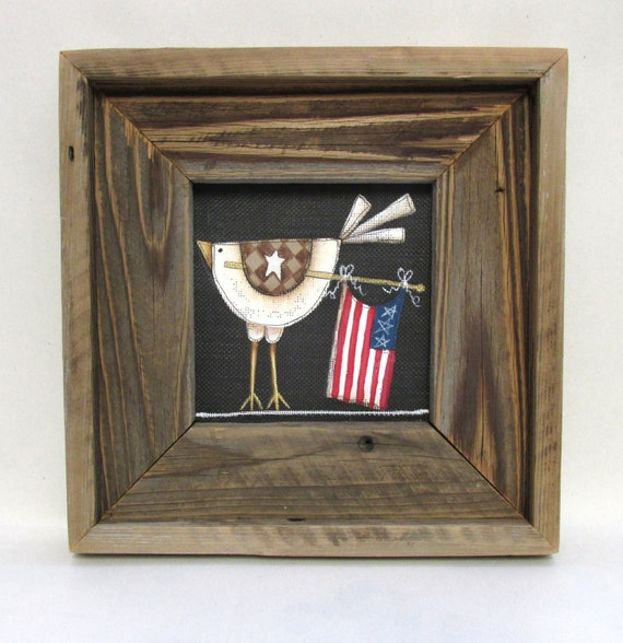 Rustic Barn Wood Framed Chicken With American By