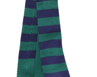 Men Green and Navy Striped Knit Neck Tie