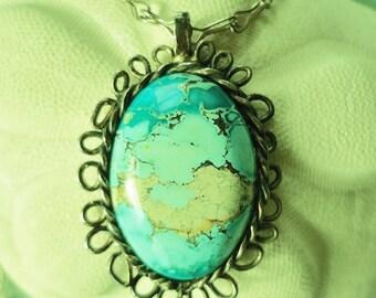 Vintage Pendant Handmade Jewelry Mystery Stone Turquoise Aqua Stone Semi Precious Stone Signed Pendant Southwestern Style Western Style