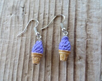 Sweet Purple Hand Painted Clay Ice Cream Earrings