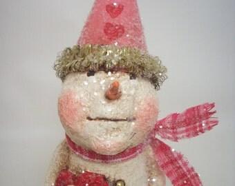 Paper Mache Folk Art Snowman with Conversation Heart