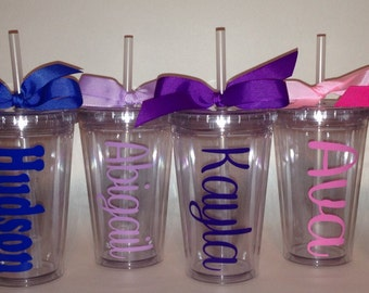 Kids size 12 oz. personalized Acrylic tumbler CUP with lid and straw polka dots monogram double wall