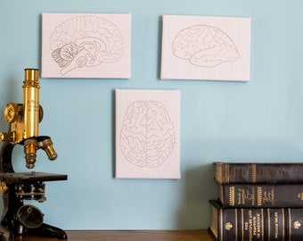Hand Embroidered Brains- Trio