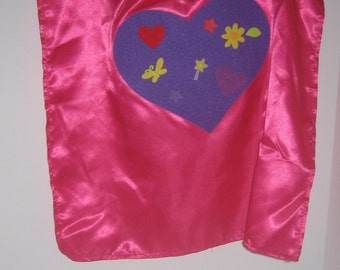 Pink Satin Super Hero Cape and Mask