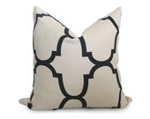 20 inch - Kravet Riad Decorative Designer Pillow Cover - Jet - Black - Ivory - Cream - Throw Pillow - Lattice - Moroccan - Linen Pillow