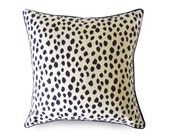 Duma Spots Pillow Cover - Black and Beige - with Piping - Animal Pillow - Decorative Pillow - Dalmatian Pillow - Leopard - Cheetah
