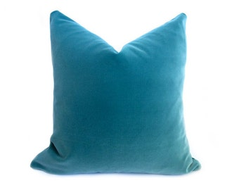 Belgium Turquoise Velvet Pillow Cover - Teal - 22 inch - BOTH SIDES - Teal Pillow - Turquoise Decorative Pillow - Velvet Pillow - Designer