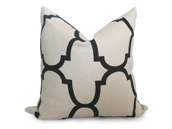 20 inch - Kravet Riad Decorative Designer Pillow Cover - Jet - Black - Ivory - Cream - Throw Pillow - Lattice - Moroccan - Linen Pillow