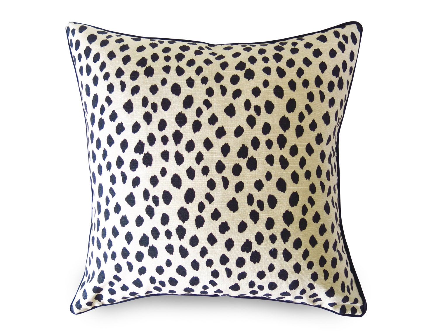 Black And Beige Decorative Pillows : Duma Spots Pillow Cover Black and Beige with Piping