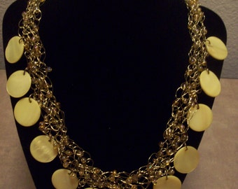Crocheted Wire Necklace - Yellow