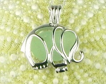 Sterling Silver Elephant Necklace GENUINE Sea Glass Jewelry In Elephant Locket Good Luck Charm In Sea Foam Seaglass