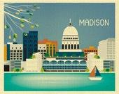 Madison Wisconsin, Mid West Art, Madison Skyline, Madison  Horizontal, Madison WI Wedding Madison Map Print, Madison Baby- style E8-O-MA
