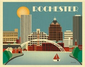 Rochester Print,  Rochester NY Skyline, Rochester horizontal, New York Skyline art, Rochester NY Wall Art, Loose Petals Art - style E8-O-ROC