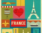 Eiffel Tower Print, Paris Print, Paris Decor, Paris Wall Art, Eiffel Tower Art, France Print, France Poster, Paris Map Print, style E8-O-FRA