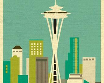 Seattle Skyline Art Map Print, Emerald City, Seattle Nursery, Seattle Retro Travel Poster, Vertical Loose Petals City Print - style E8-O-SE2