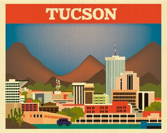 Tucson Skyline Art Print,  Tucson Wall Art, Tucson City, Tucson AZ print, Tucson Wedding Gift, Tucson AZ, horizontal Tucson print, E8-O-TUC